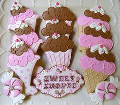 12 Big Sweet Shoppe Decorated Sugar Cookies by AlisSweetTooth, $45.00