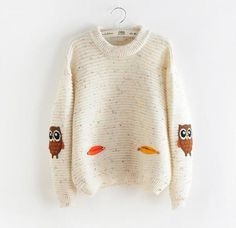 2016 womens fashion winter autumn o-neck collar new owl character with pocket hit color solid loose cashmere sweater