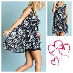Arrives 4/11❗️Floral Tunic Large Sleeveless a-line floral print tunic. Cotton blend. Women's size. Color is Navy. ❌No Trades ❌ Price is firm unless bundled. . Happy Poshing! Tops Tunics