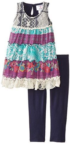 Rare Editions Little Girls' Printed Dress with Legging Set, Multi Colored, Navy/multi colored lace to chiffon tiered dress with legging. Casual Wear, Casual Outfits, Casual Clothes, Dress Casual, Little Girl Fashion, Kids Fashion, Everyday Dresses, Tiered Dress, Dresses With Leggings