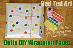Dotty DIY Wrapping Paper Idea, part of a series of fun and inexpensive wrapping paper crafts. via www.redtedart.com