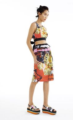 Falling Leaves Ribbon Tie Crop Top & Poplin Skirt - Women's Spring 2015 Collection by Clover Canyon