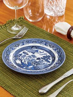 A set of blue willow ware soup bowls by Churchill China of England brings the iconic pattern to your table and are dishwasher and microwave safe. Blue Willow China, Blue China, White China, Dinner Plate Sets, Dinner Plates, Churchill, Blue And White Dinnerware, Sep 15, Willow Pattern