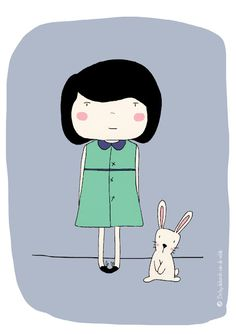 a little bunny friend - illustration - by Bodesigns