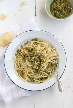 green olive salsa verde with linguini