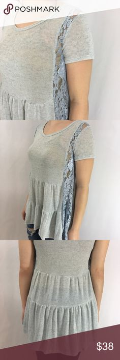 Light Blue Tiered with Lace Detail Tunic Light Blue Tiered with Lace Detail Tunic 96% Polyester 4% Spandex No Trades Price is Firm Unless Bundled Glamvault Tops Tunics