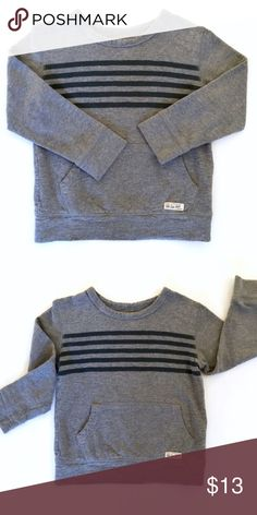 🍭On Sale🍭 Baby Gap Boys' Sweater 4/4T This sweater is oh so cozy. It's also in great condition. No signs of wear, no marks, no fading. Size 4, 100% cotton, dark gray stripes. Front pocket to put little cars, trains, legos, or to warm up little fingers. Small appliqué with retro Gap logo on left front (bottom). This sweater goes with everything and it's perfect for fall and winter! GAP Shirts & Tops Sweaters
