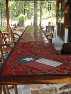 cool outdoor tile table