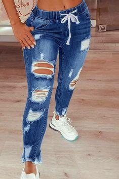 Denim Joggers, Ripped Denim, Distressed Denim, Skinny Jeans, Skinny Fit, Washed Denim, Blue Denim, Blue Fashion, Online Shopping