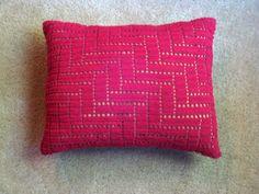 Pink Crochet Pillow.