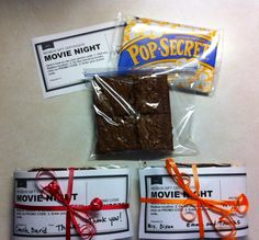 MOVIE NIGHT GIFT. Inexpensive gift for teachers and coaches. Purchase 10 pack microwave popcorn, 10 Redbox promo codes (I made the gift certificates on Word) and bake brownies. Each gift probably under $2.50.