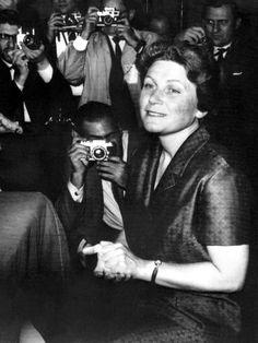 Stalin's daughter Svetlana Peters, then Svetlana Alliluyeva, speaks to reporters in New York after defecting in 1967.