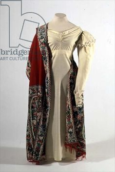 Lady's visiting dress and shawl, from the Kolokoltsov workshop, Russian, c.1830 (cashmere, wool and embroidery)