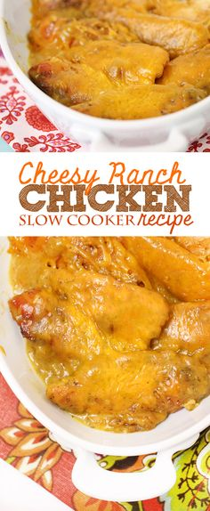 Easy and packed with a TON of flavor! Ranch slow cooker chicken recipe #slowcooker #crockpot