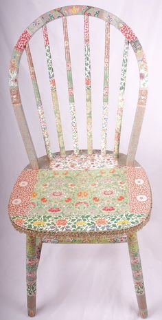decoupage spindle back chair  Rowena by kitschemporium on Etsy