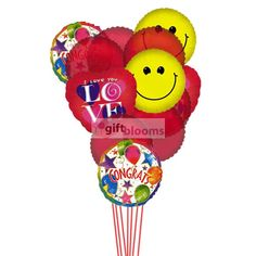 Love & Smile Balloons    If Congratulation will be accompanied by Love & Smile then it would be rewarding ,so go ahead & sent it. 6 Mylar & 6 Latex Balloons deliver in this arrangement.