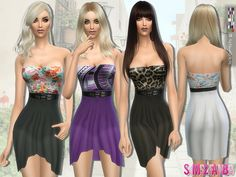 The Sims Resource: 114 - Waterfall dress with belt by sims2fanbg • Sims 4 Downloads