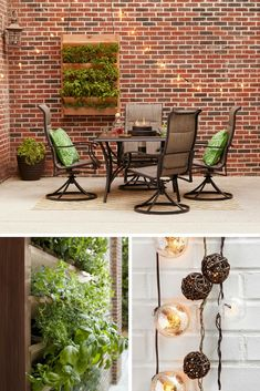 An inviting outdoor dining room reflects its natural surroundings. Botanical pillows, a tabletop fire bowl, string lights, and a DIY vertical herb garden fuse indoor comforts with the beauty of the outdoors.