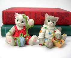 Christmas Calico Kittens Figures Figurines by AtticDustAntiques