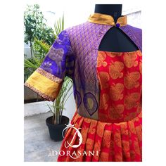 Saree Gown, Sari Dress, Long Gown Dress, Long Gowns, Pattu Saree Blouse Designs, Blouse Neck Designs, Frocks And Gowns, Indian Fashion, Women's Fashion