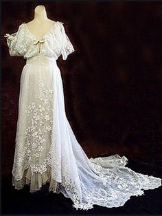 From the website:   Perry estate hand-embroidered sheer cotton gown, c.1908.