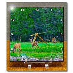 3dRose - Jos Fauxtographee Realistic - Three deer near a forest of trees on green grass grazing - Desk Clocks