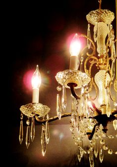 5-Arm Crystal Chandelier  Hollywood Regency by HeartSmileFarms
