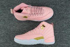 """Girls Air Jordan 12 GS """"Pink Lemonade"""" Pink/White-Gold"""