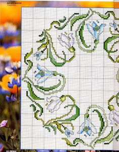 Cross stitch - flowers: Snowdrop wreath and border (free pattern - chart - part Cross Stitch Tree, Cross Stitch Pillow, Cross Stitch Cards, Cross Stitch Borders, Cross Stitch Flowers, Cross Stitch Designs, Cross Stitching, Cross Stitch Patterns, Needlepoint Pillows