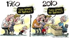 Funny Illustrations That Show The Changing World Then vs Now Teacher Comics, Teacher Cartoon, Bad Grades, School Grades, Then Vs Now, Education Today, Bd Comics, Funny Illustration, Humor Grafico
