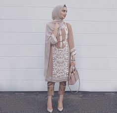 Pinterest: @eighthhorcruxx. Beige and white shalwar kameez with heels and bag