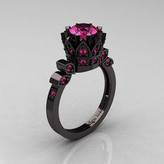 Exclusive Classic Armenian 14K Black Gold 1.0 Pink Sapphire Bridal Solitaire Ring R405-14KBGPS