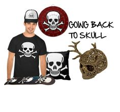 """Back to Skull"" by sandyspider ❤ liked on Polyvore featuring art, Halloween, skulls, contestentry, crossbones and backtoskull"