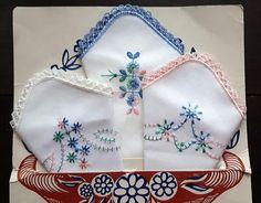 Vintage cotton embroidery handkerchiefs pastel set of three