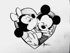 cartoon, cute, disney, draw, love, mickey, minnie, rose, i love you forever