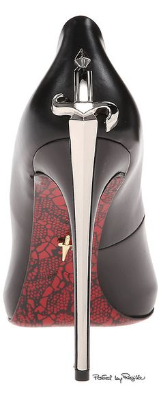 very cool black stilletto!  the heel looks like a sword, and the sole is red & detailed... ~Regilla ⚜ Cesare Paciotti