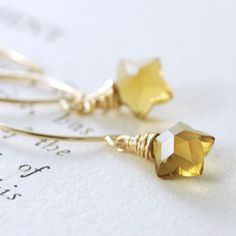 Star Earrings, Quartz Gemstone 14k Gold Fill Handmade