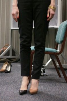 Nude shoes elongate your legs.  -    http://blogs.babble.com/babble-voices/about-love-mara-kofoed/2012/08/30/tips-from-a-j-crew-personal-stylist/#black-or-nude-shoes