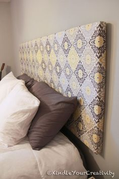 Headboard that's not connected to the bed & it's light weight (no foam, not solid) different fabric...: