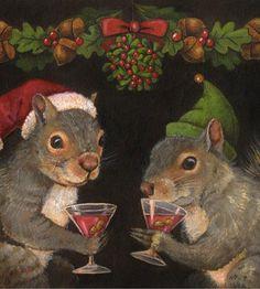 Christmas Squirrels Print