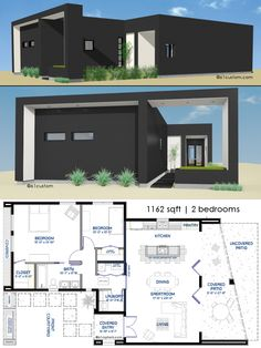 Small Front Courtyard House Plan | 61custom | Modern House Plans