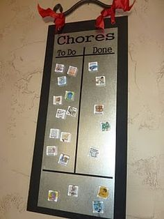 "chore chart tutorial - do this on roof metal we have: ""to do"" & ""done"" section for each kid; use payment amt for each chore"