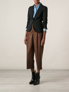 Stella Jean Cropped Check Print Trousers - Dolci Trame - Farfetch.com
