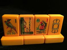 EASTERN DISTRIBUTORS MAH JONGG GAME TILE SET with (R to L) RARE WHITE DRAGON, Flower tile, (stickered Jokers), Pheasant 1 Bam Bird.