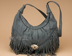 Charcoal Southwestern Cowhide Leather Purse