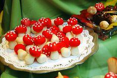 Marzipan mushrooms.