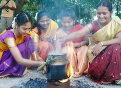 Celebrating the Harvest Festival, Pongal in South India.