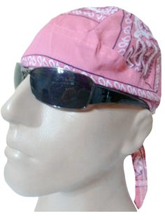 Pink Paisley Headwrap Doo Rag Durag Skull Cap Cotton Sporty Motorcycle Hat