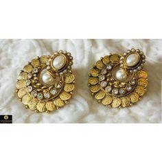 Latest Beautiful Coin Ginni Temple Polki Earring PO382 - Earrings by Vastradi