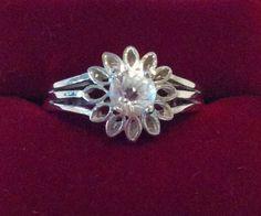 Handcut Faceted Goshenite Beryl White Emerald 925 Sterling Silver Daisy Flower Ring on Etsy, $69.00